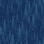 Seamless winter christmas forest vector background design