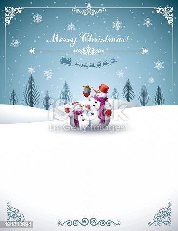 istock Christmas Design with Snowmen 494343994