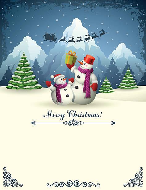 Weihnachten Design mit Schneemännern – Vektorgrafik