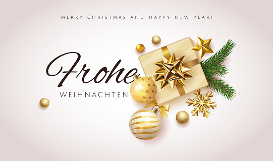 Christmas design with white background, gold gift box with stars, christmas ball and snowflakes. German text Frohe Weihnachten. Merry Christmas and Happy New Year greeting. card or banner, sale promo