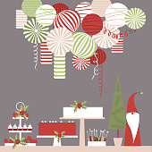 Christmas dessert table and paper lanterns. Candy bar with cakes. Vector illustration.