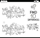 Black and White Cartoon Illustration of Finding Differences Educational Activity for Children with Christmas Characters Coloring Book