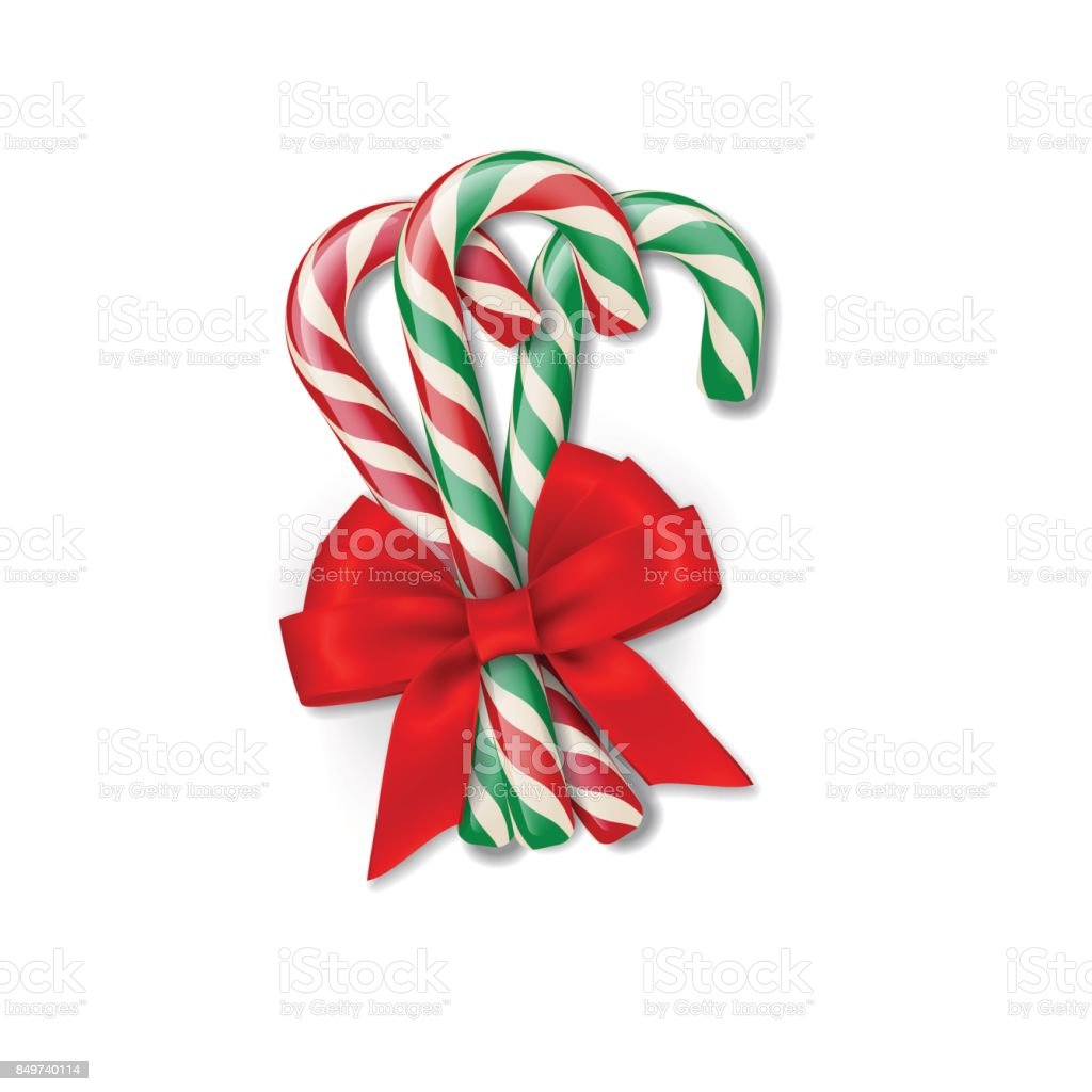 Christmas different candy canes with red bow. Vector Christmas or New Year design element.