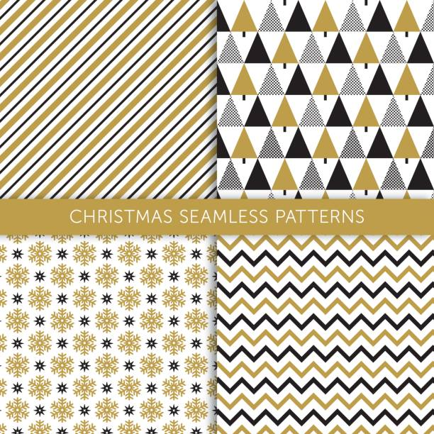 Christmas different seamless patterns Christmas different seamless patterns christmas patterns stock illustrations