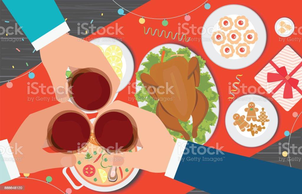 Cena de Navidad y comer deliciosa comida en la mesa. - ilustración de arte vectorial