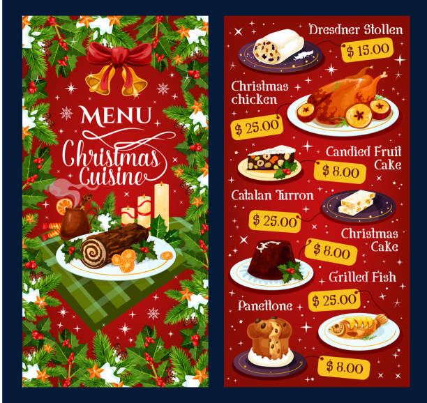 illustrazioni stock, clip art, cartoni animati e icone di tendenza di christmas dinner cuisine vector restaurant menu - panettone