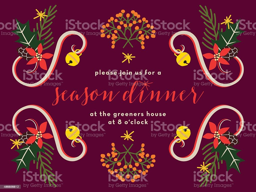 Christmas Dinner Invitation Card On Dark Red Background