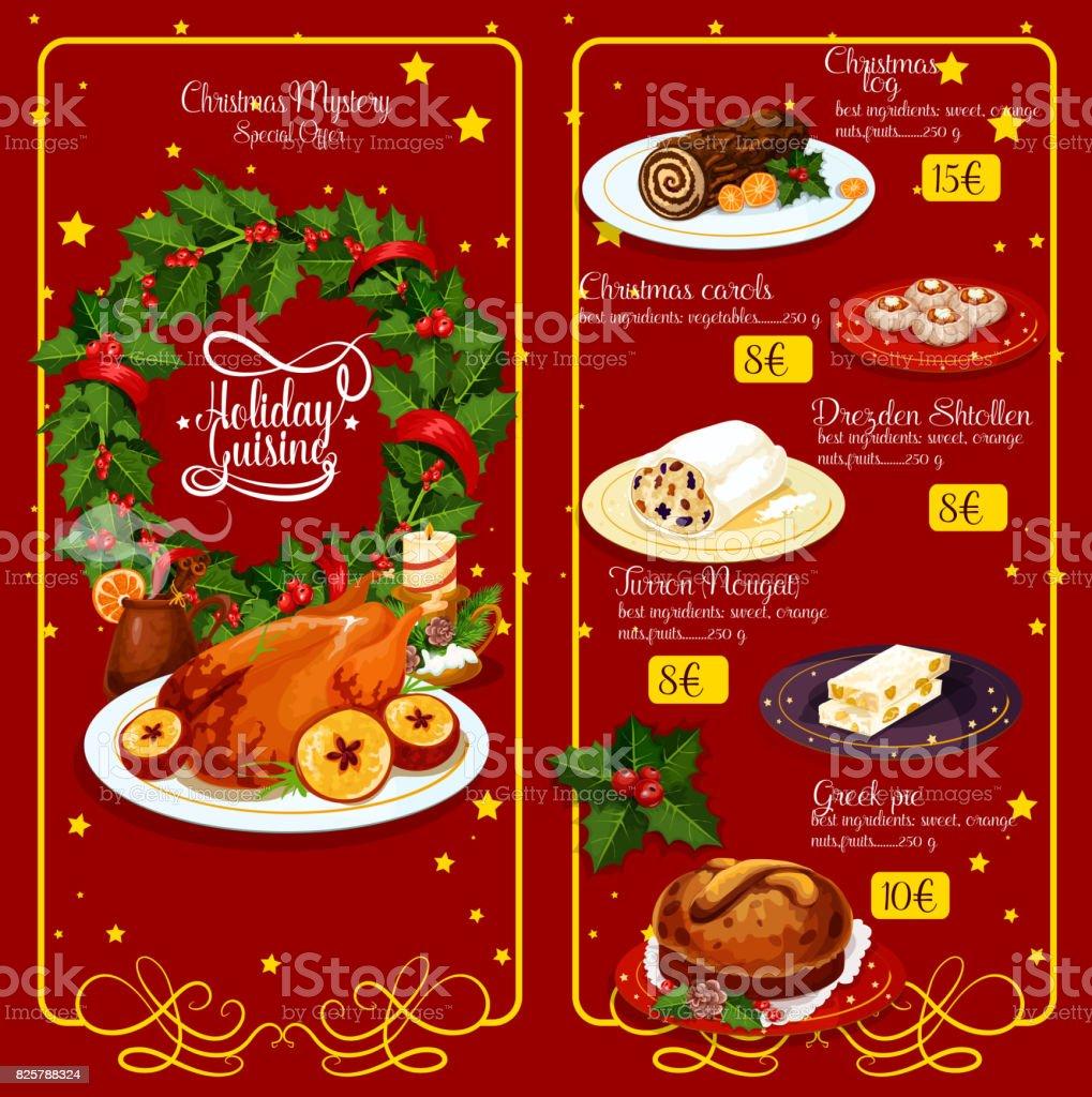 Menü Weihnachten.Weihnachten Abendessen Menü Festliche Vorlagedesign Stock Vektor Art
