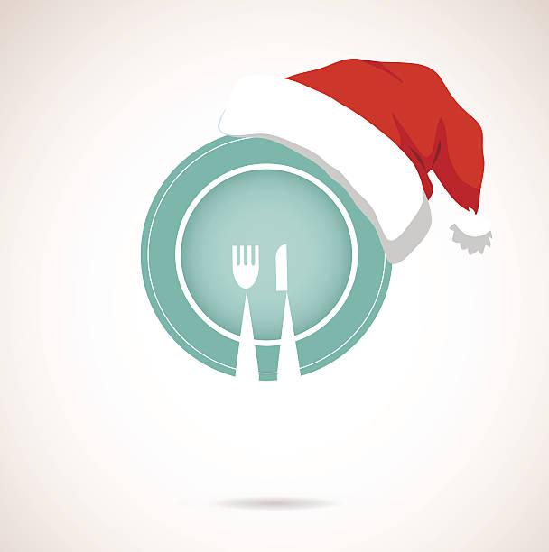 illustrazioni stock, clip art, cartoni animati e icone di tendenza di piatto cena di natale indossando il cappello rosso di stagione - pranzo di natale