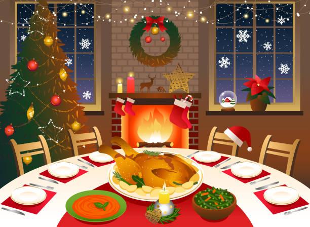 ilustrações de stock, clip art, desenhos animados e ícones de christmas dinner - christmas table