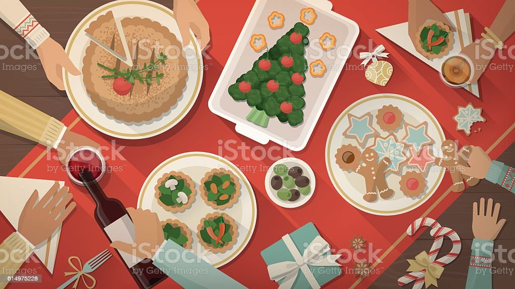 Christmas dinner vector art illustration