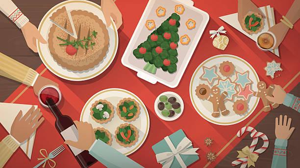 ilustrações de stock, clip art, desenhos animados e ícones de jantar de natal - christmas table