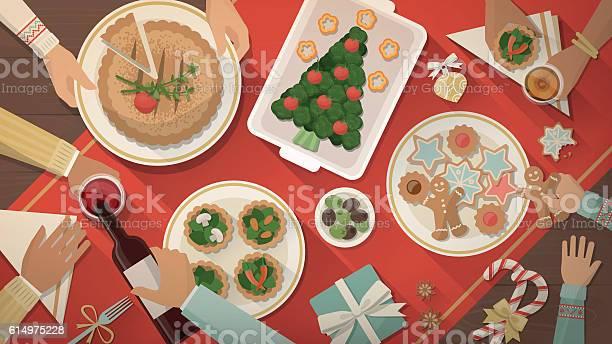 Christmas Dinner Stock Illustration - Download Image Now