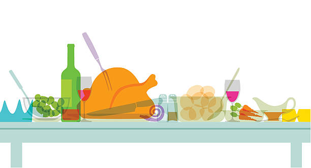 Christmas Dinner Colourful overlapping silhouettes of Christmas dinner food. EPS10 file, best in RGB, CS5 versions in zip serving dish stock illustrations