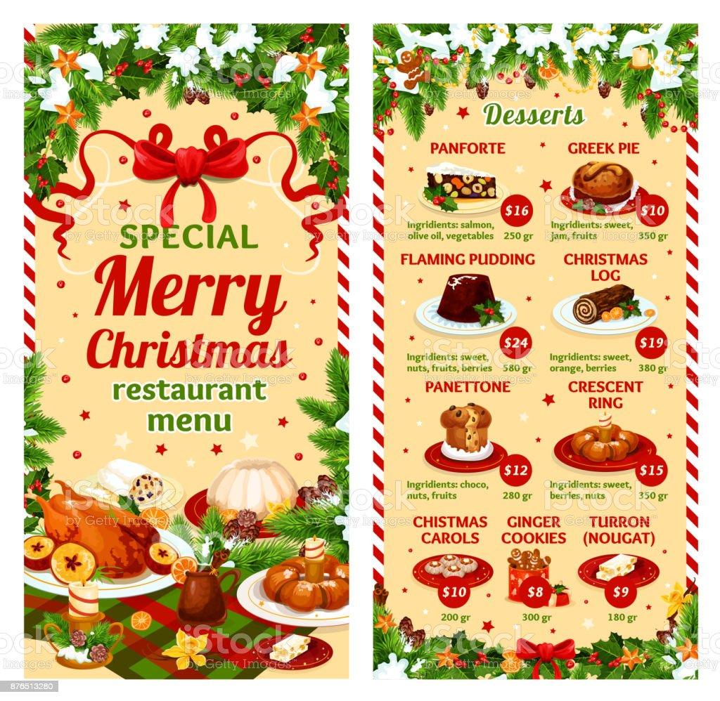 Restaurant Weihnachtsessen.Weihnachtsessen Vektor Restaurant Dessertkarte Stock Vektor Art Und