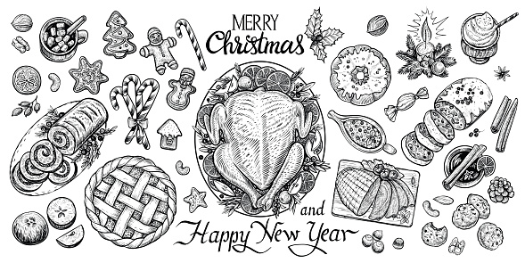 Christmas dinning table, top view vector graphic illustration. Wintertime food and drinks. Homemade chicken, gingerbread cookies, stollen, pudding, grog, pie, ham, meat roll, mulled wine sauce etc