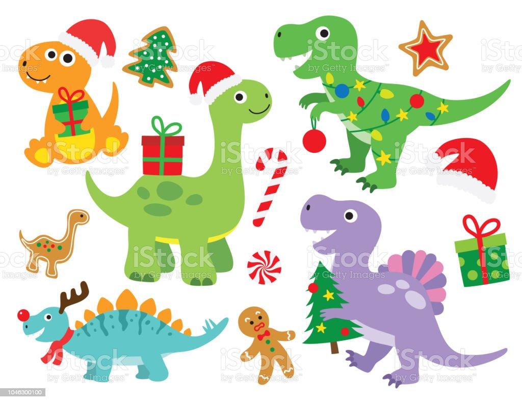 Christmas Dinosaur.Christmas Dinosaur Vector Illustration Stock Illustration Download Image Now