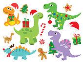 Vector illustration of cute Christmas holiday dinosaur set. Dinosaur with Christmas lights and gifts. Cute dinosaur wearing Santa hat.