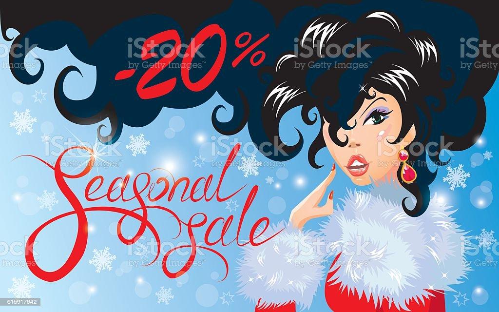 Christmas Discount horizontal banner with Happy brunette girl. vector art illustration