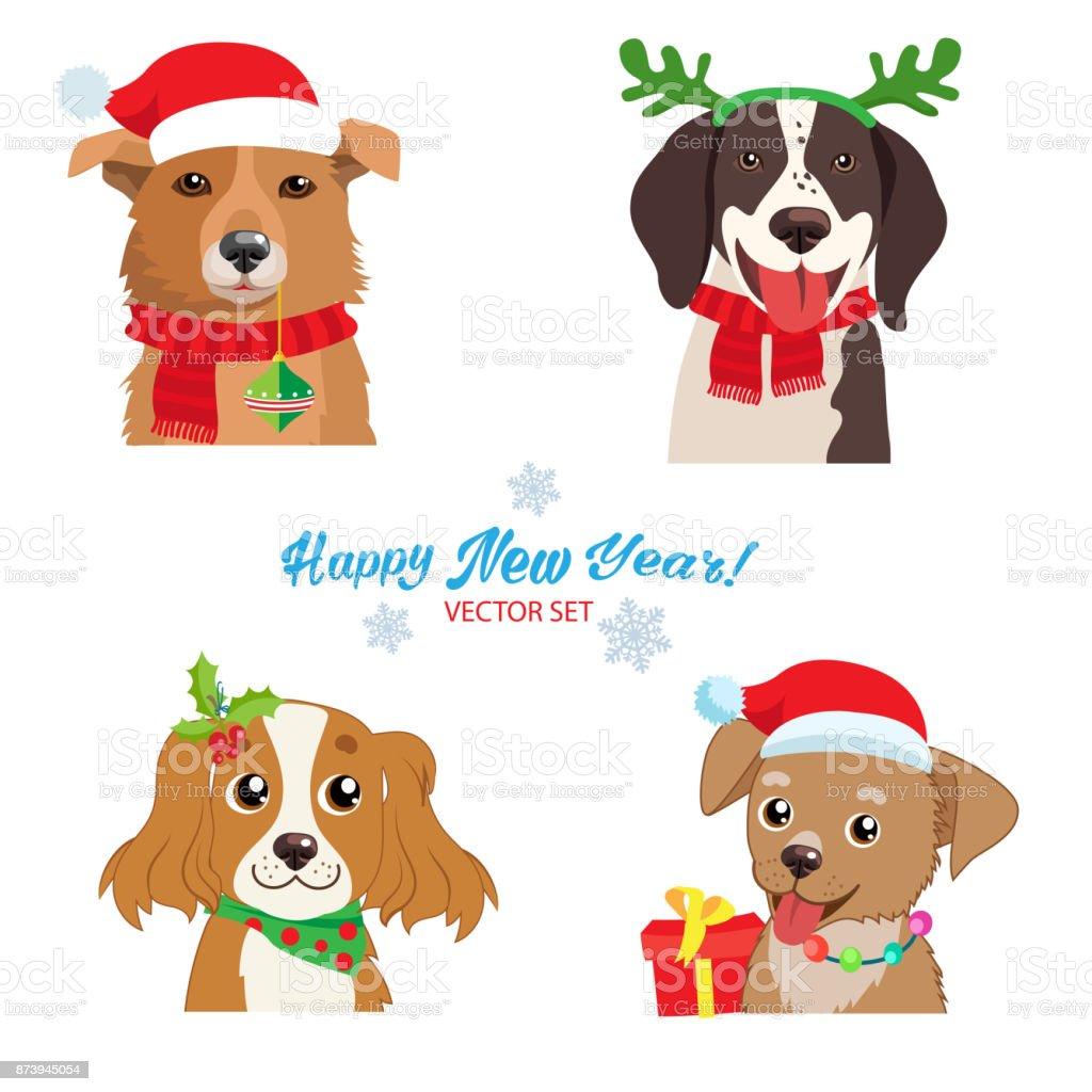 Ilustración De Colección Vector Juego De Navidad Perro Caras Símbolo