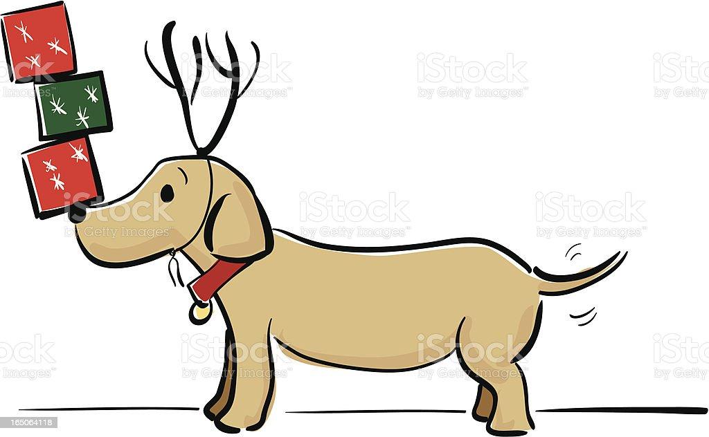 Christmas Dog vector art illustration