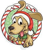 Vector Illustration of a festive Christmas dog mascot. File saved in layers for easy editing.