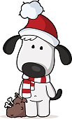 vector drawing of a x-mas dog with a sack full of bones