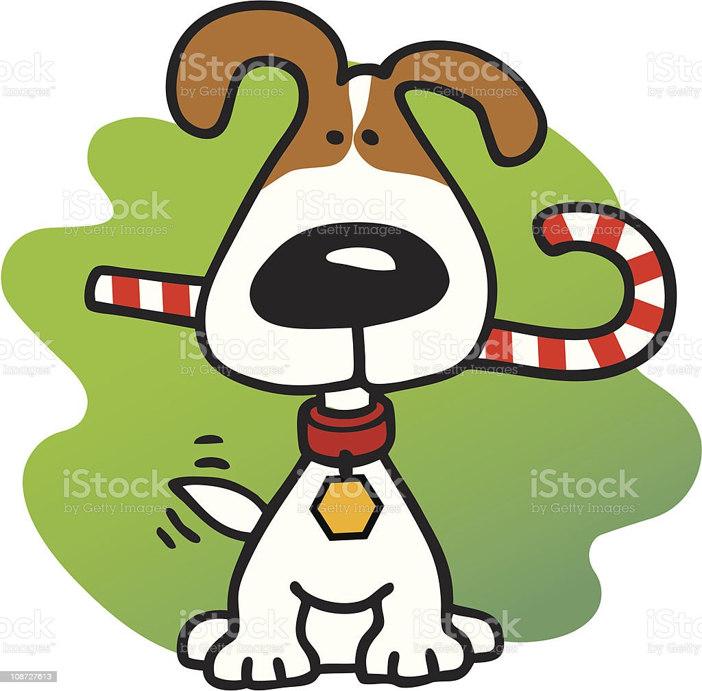 christmas dog with candy cane stock vector art more images of rh istockphoto com christmas dog and cat clipart merry christmas dog clipart