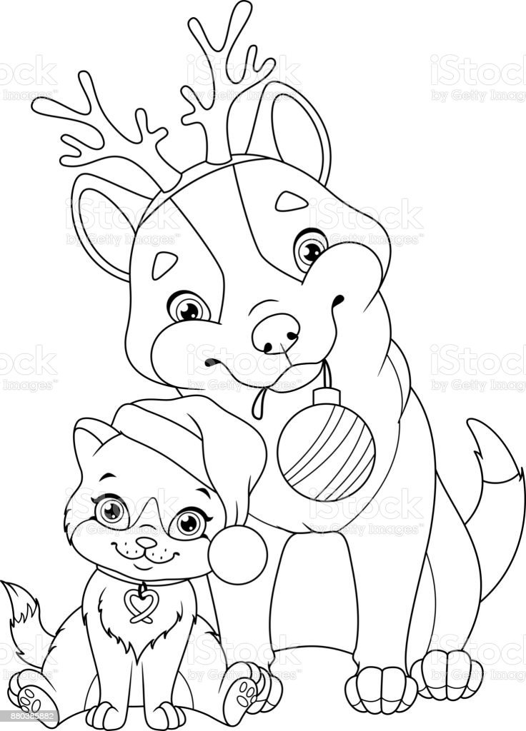 Kleurplaat Kerst Poes Christmas Dog With Cat Coloring Page Stock Illustration
