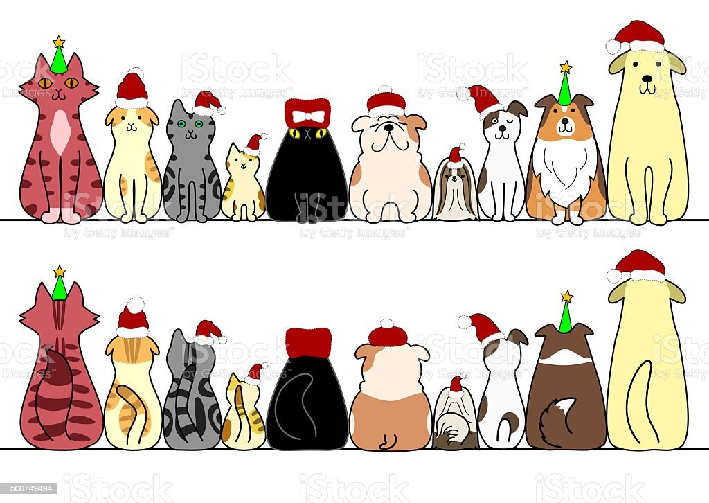 Christmas dogs and cats in a row vector art illustration