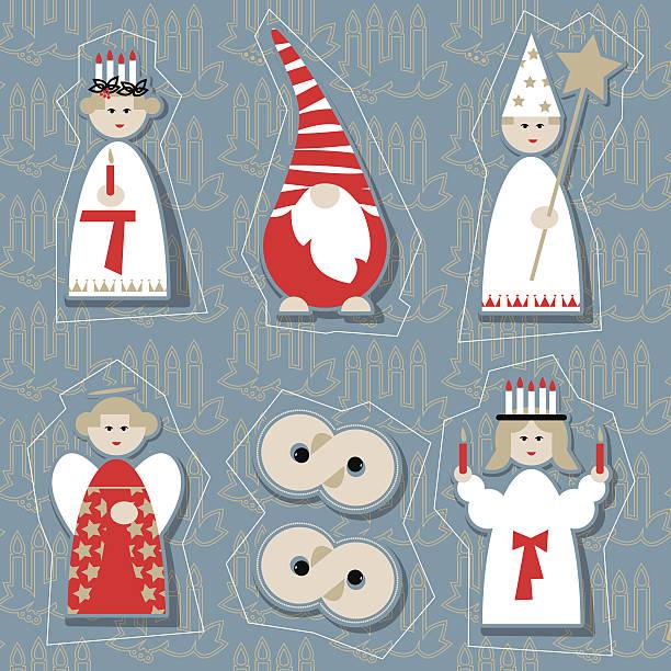 bildbanksillustrationer, clip art samt tecknat material och ikoner med christmas dolls. scandinavian christmas tradition. - lucia