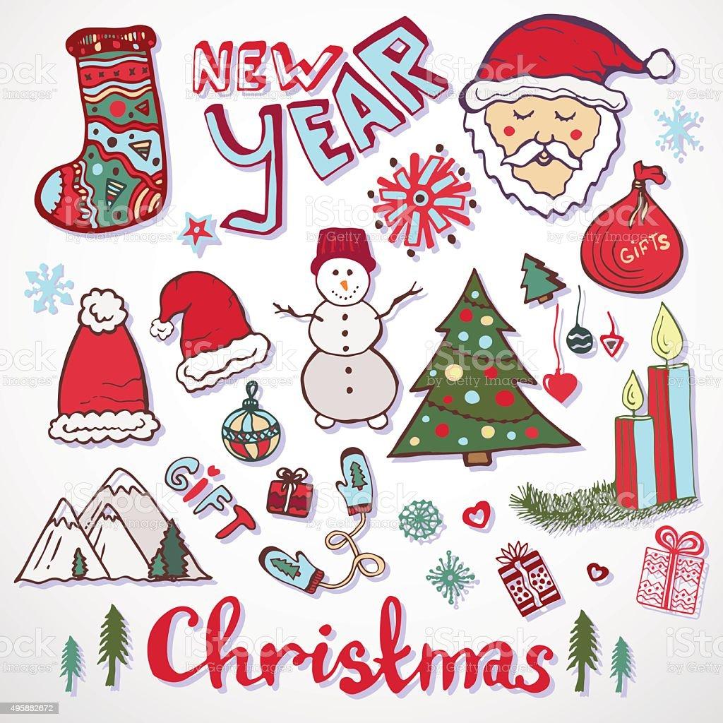Disegni Di Natale Vettoriali.Collezione Di Disegni Di Natale Anno Nuovo Colorato Schizzi Set