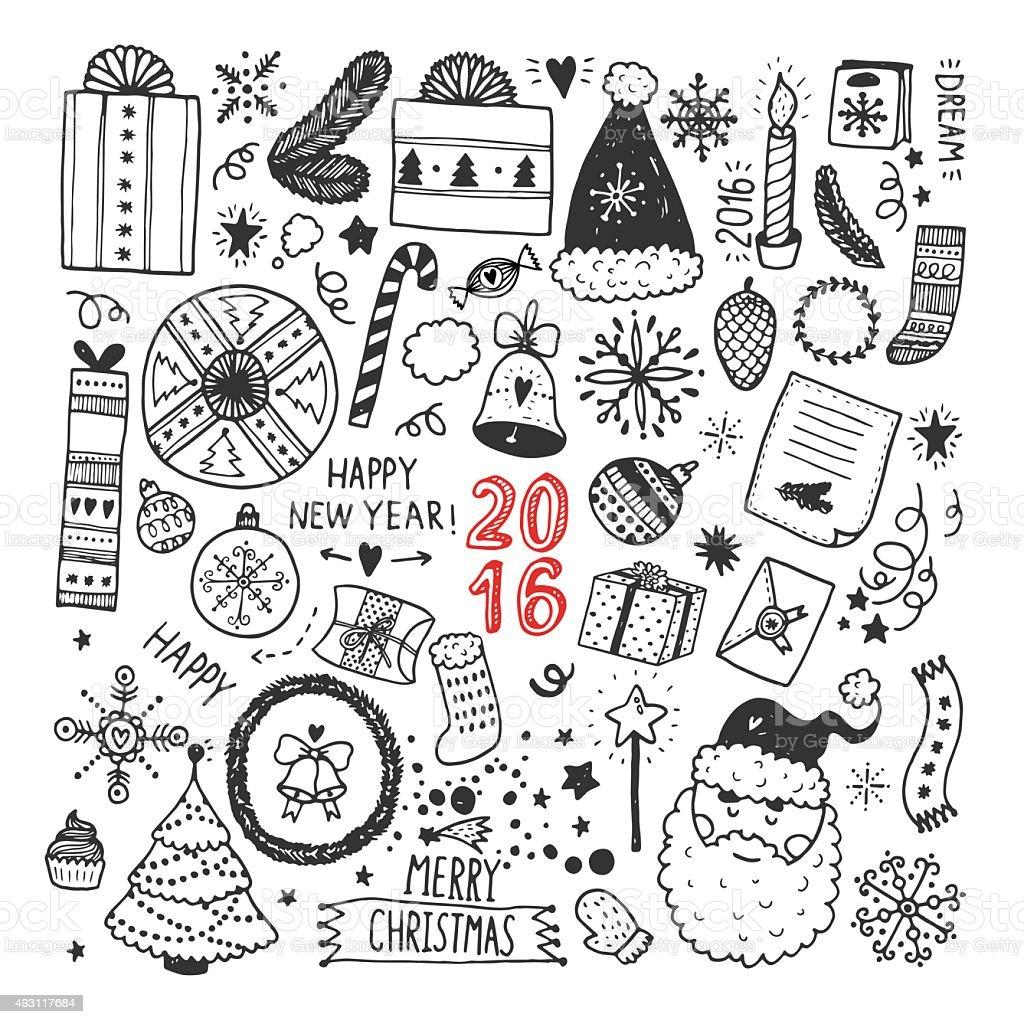 Disegni Di Natale Vettoriali.Collezione Di Disegni Di Natale Immagini Vettoriali Stock