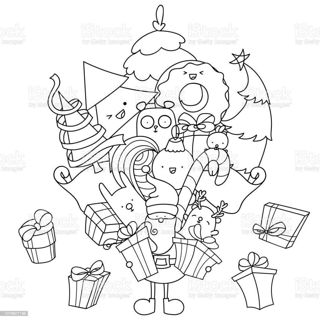 Ilustración De Página Para Colorear De Navidad Doodle Santa