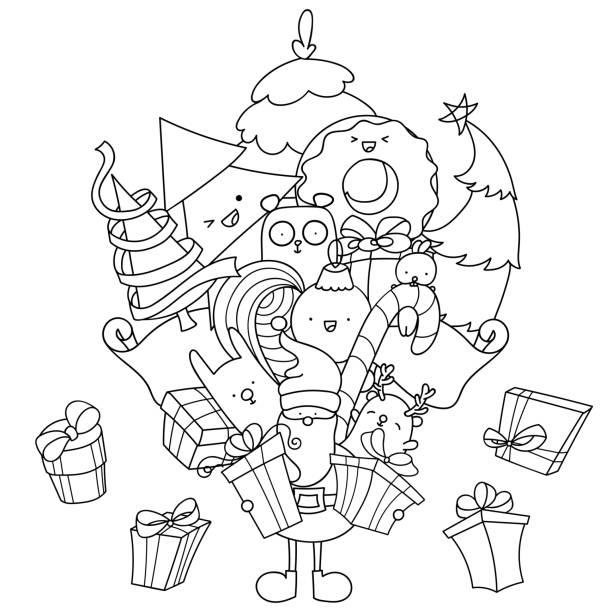 Coloriage De Noel Doodle Pere Noel Avec Cadeaux Et Animaux Kawaii