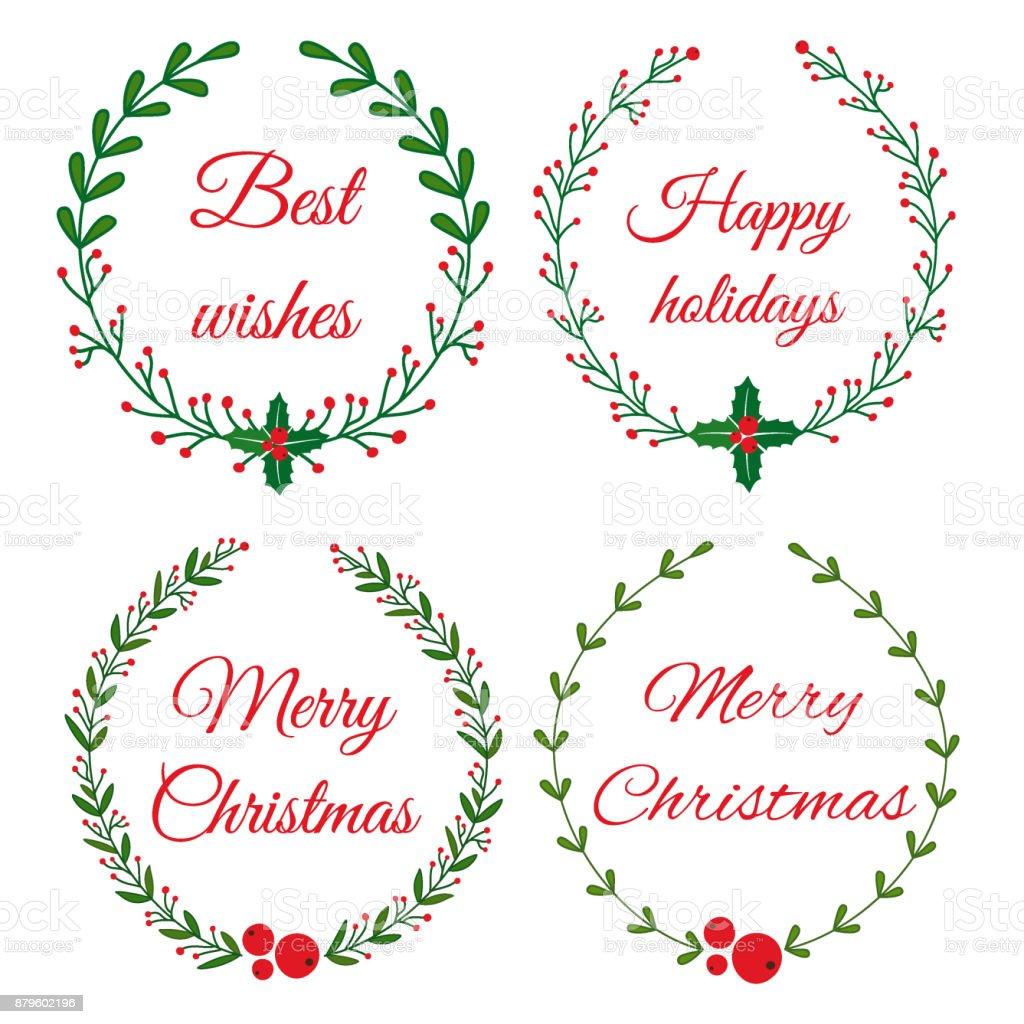 Weihnachten Doodle Handgezeichnete Blumenkranz Rahmen Stock Vektor ...