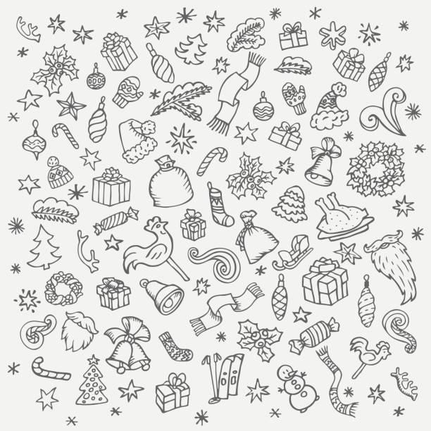 illustrazioni stock, clip art, cartoni animati e icone di tendenza di doodle set di natale - sfondo scarabocchi e fatti a mano