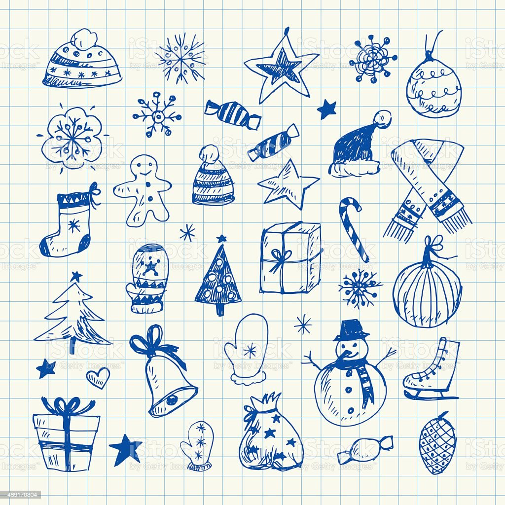 Ensemble de dessins de Noël - Illustration vectorielle