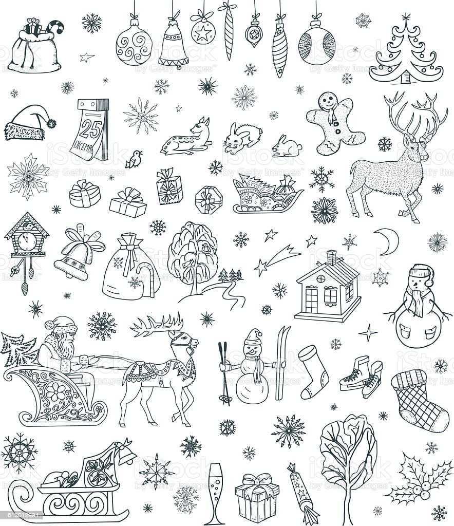 Christmas Doodles Set Stock Vector Art Amp More Images Of