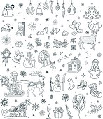 Christmas hand drawn illustrations. Christmas doodles set.