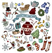 Christmas doodles sticker objects. Winter favourites. Vector illustration.