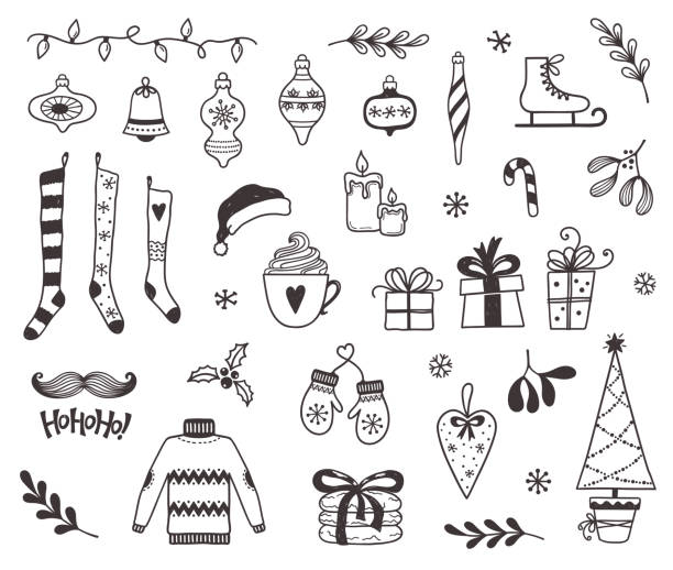 Christmas doodles Set of Christmas and winter design elements in doodle style christmas icons stock illustrations