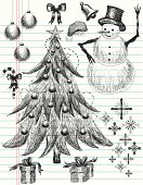 Doodle style, hand drawn Christmas images on notebook paper. The images include Christmas ornaments, Christmas tree, ribbon bow, santa hat, bell, snowman, snowflakes, and Christmas presents.