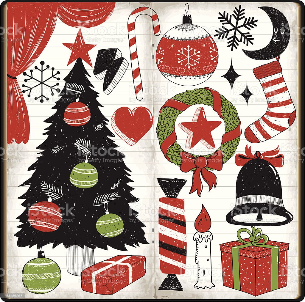 Christmas doodles royalty-free stock vector art