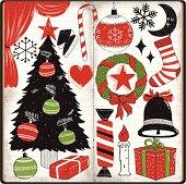 Set of cute Christmas doodles in sketchbook,