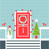 Christmas Door with Christmas tree and snowman. Vector illustration