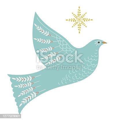 Christmas Dove Folk Art Element