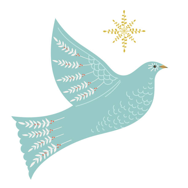 christmas dove folk art element - holiday season stock illustrations