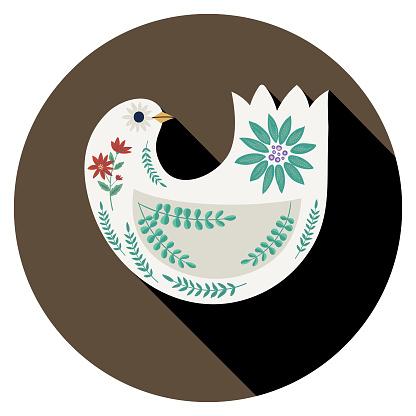 Christmas Dove Folk Art Icon