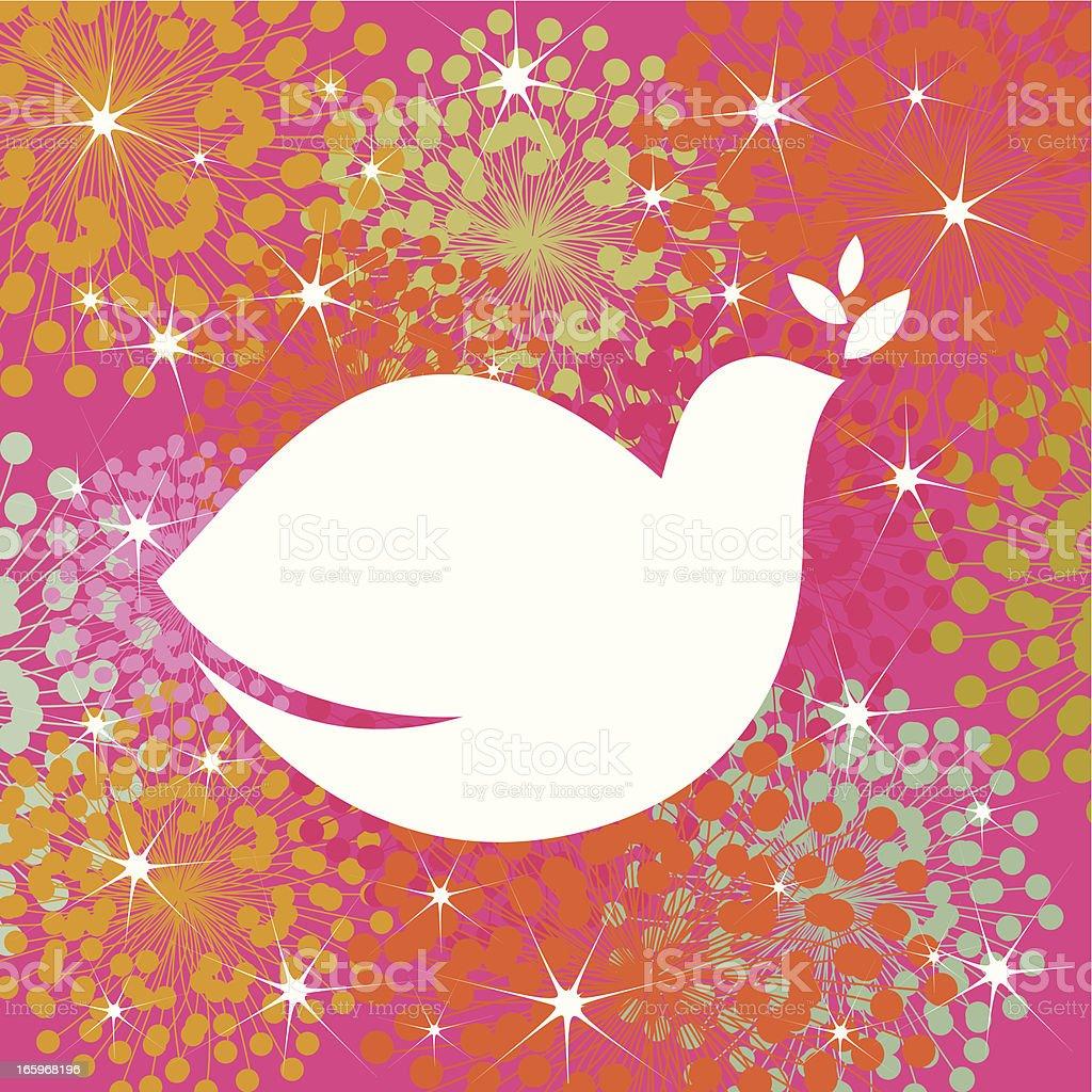 Christmas dove of peace vector art illustration
